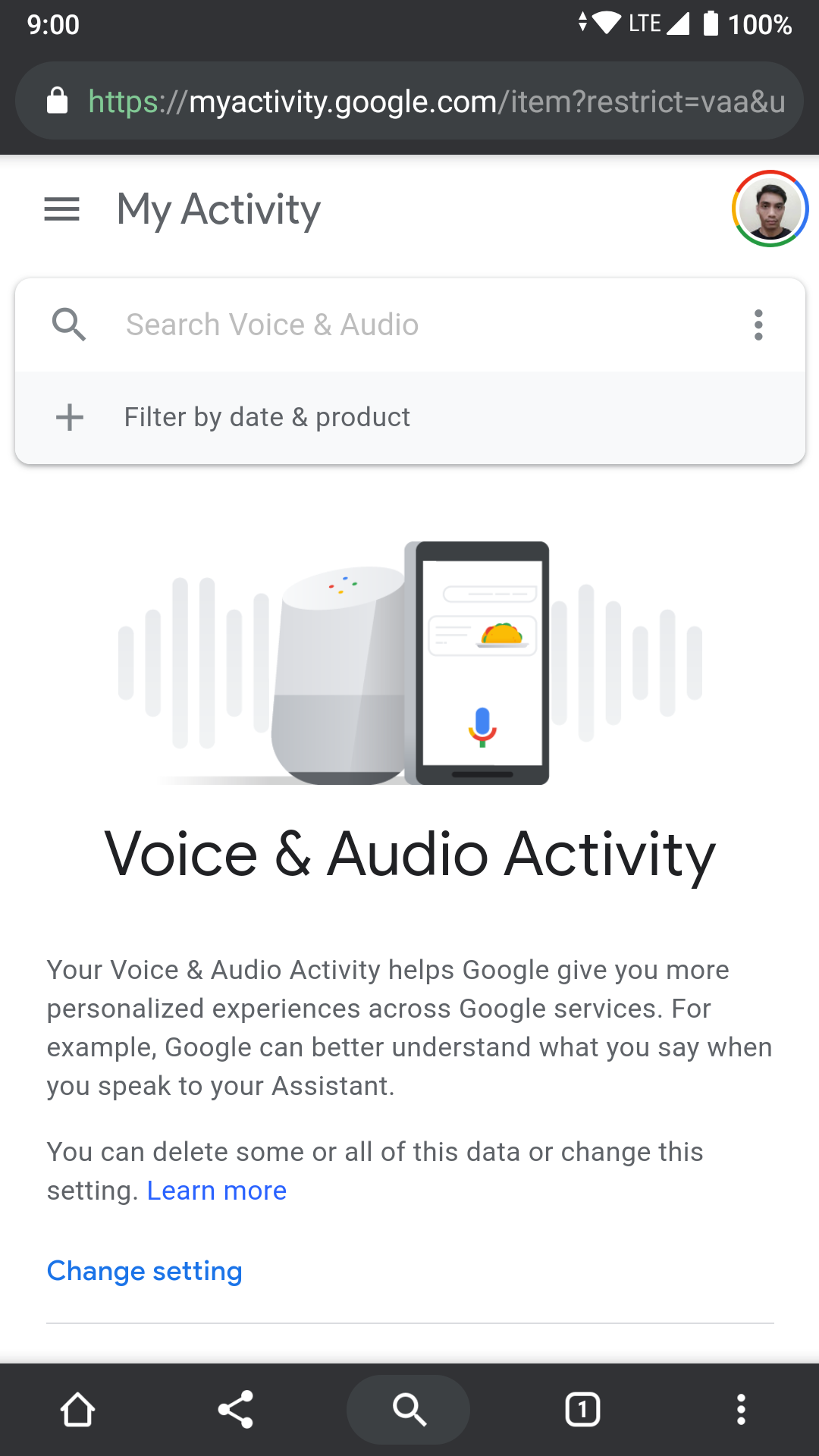 Google Voice and Audio Activity